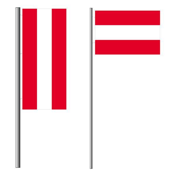 Österreichs Nationalflagge im Hoch- und Querformat
