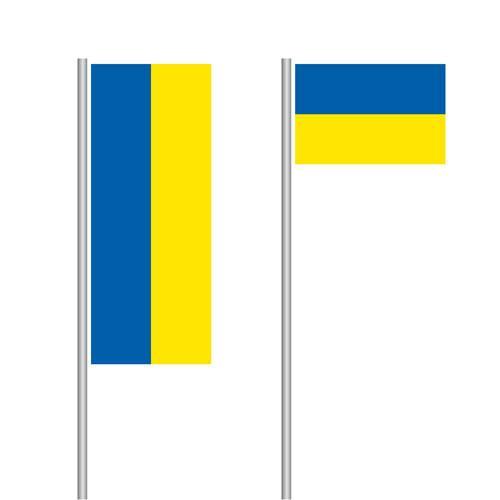 Ukrainische Nationalflagge im Hoch- und Querformat
