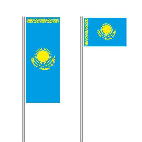 Kasachstan Nationalflagge im Hoch- und Querformat