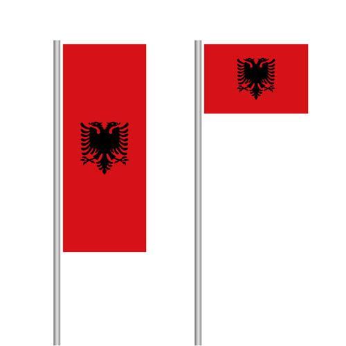 Albanien Nationalflaggen im Hoch- und Querformat