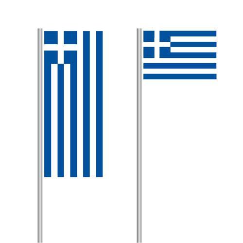 Griechenlandfahne im Hoch- und Querformat