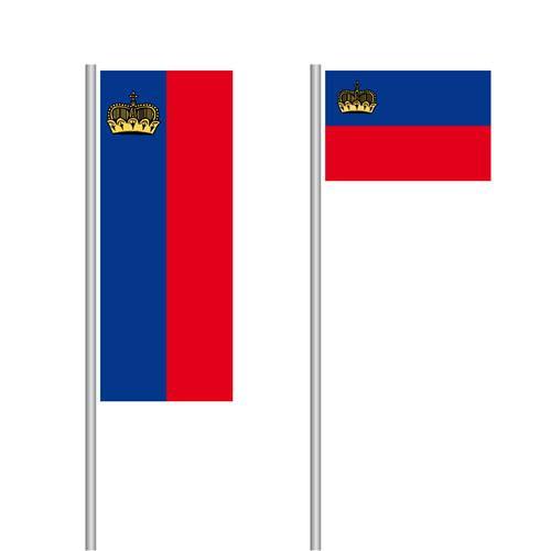 Lichtenstein Nationalflagge im Hoch- und Querformat