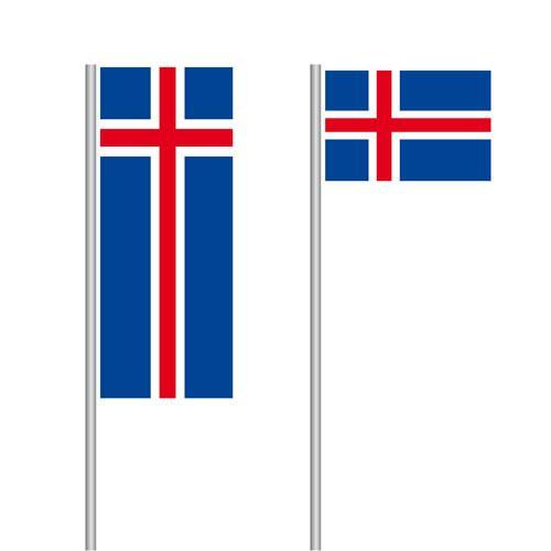 Island Fahne im Hoch- und Querformat