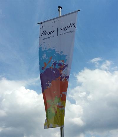 Bannerfahne 120 cm x 350 cm mit Hohlsaum Oben