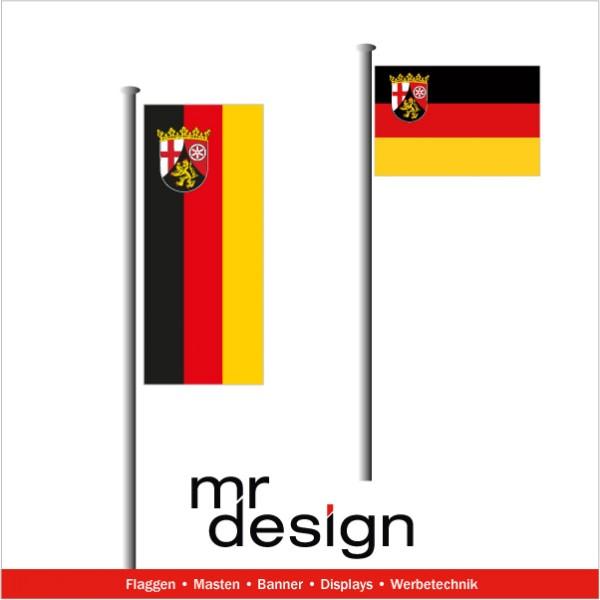 Rheinland-Pfalz Fahne hoch - und Querformat