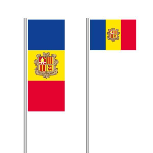 Andorra-Fahne im Hoch- und Querformat