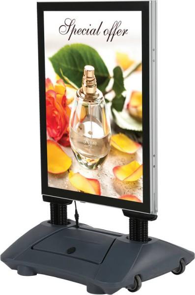 Doppelseitiger Kundenstopper mit LED-Hintergrundbeleuchtung