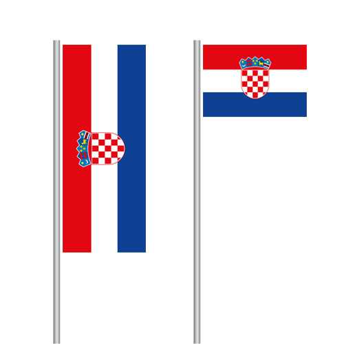 Kroatien  Fahne im Hoch- und Querformat