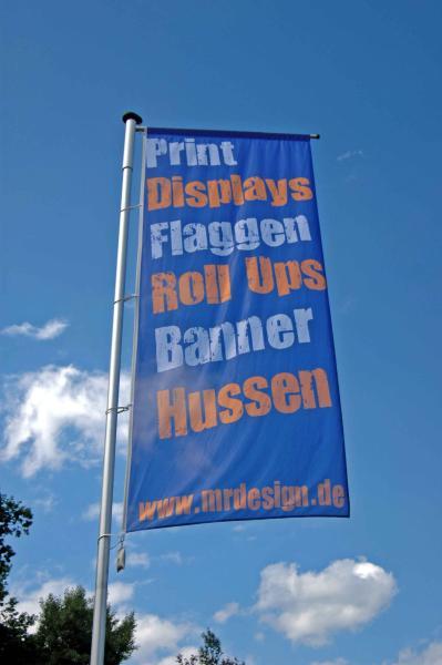 Fahne mit Hohlsaum und Werbedruck