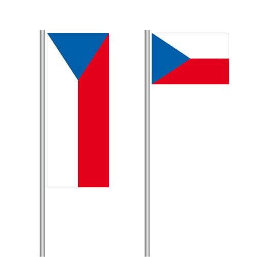 Tschechische Nationalflagge im Hoch- und Querformat