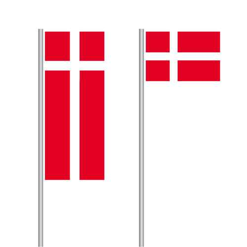 Dänemark Fahne - Dannebrog im Hoch- und Querformat