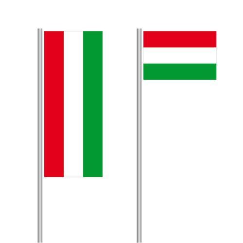 Ungarische Nationalflagge im Hoch- und Querformat