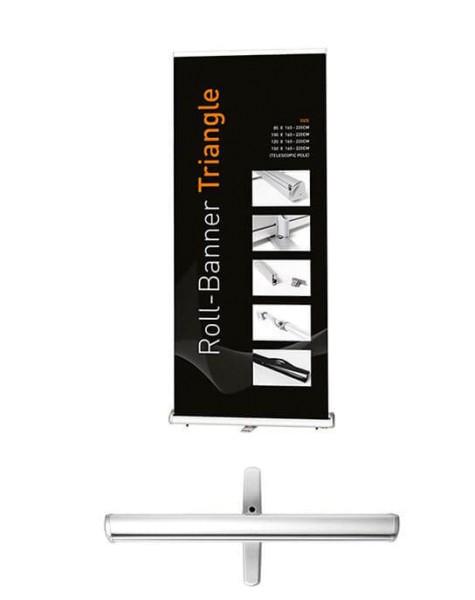 Höhenverstellbarer Roll Up Triangle wahlweise mit individuell bedrucktem Banner